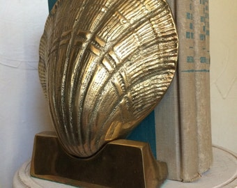 Vintage Brass Seashell Bookends Brass Clamshell Bookends
