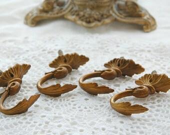 Vintage French, wall hooks, gilt finish hooks, ornate small hooks, small curtain tie backs,  drapery holders, curtain holders