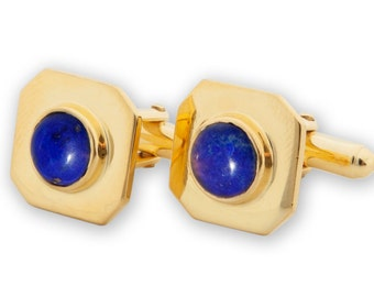 Lapis Cufflinks Octagon Hand Crafted Regnas Gold Plated Sterling Silver 925
