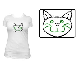 Cat Face Rhinestone Shirt or Transfer- Cat Face with Whiskers