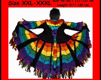 Elf coat, eLF sWEATER, size XXL, size XXXL, plus size, rainbow sweater, fairy, dress, women hoodie, sweater coat, patchwork, dream coat