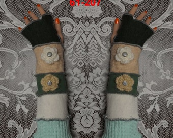 Arm warmers, Fingerless, elf coat, Gloves, women, patchwork, Upcycled, Cosplay, Gift, mittens, embroidered, driving gloves, size M, size L