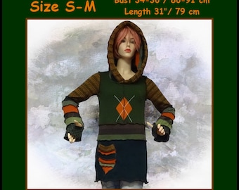 Elf sweater, size S, size M, pullover, hoodie, hippie, patchwork, fairy
