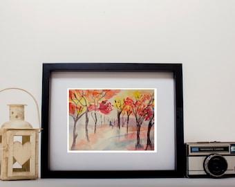 watercolour tree print,  landscape painting, pastel watercolour art, home decor, watercolour prints, wall art, watercolor, original art