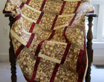 "Quilted Lap Throw ""Tan Orchids"" Wheelchair Quilt, Quiltsy Handmade, Quilted Blanket, Beige and Brown Floral Quilt"