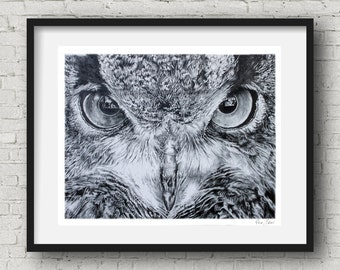 Owl decor - Owl poster art print owl art Drawing  dark art  black and white decor drawing of owls