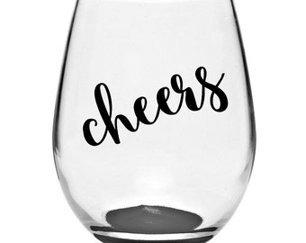 Cheers Wine Glass Etsy