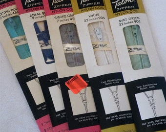 9 Nylon Zippers, Sewing Zippers, Nylon Zipper Lot, Mixed Colors Zippers,