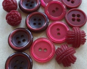 eco friendly modern and vintage cranberry and raspberry red button collection--mixed lot of 15