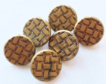 gold tone metal eco friendly vintage shank buttons with woven design--matching lot of 6
