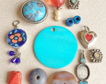 boho hippie chic blues and orange metal wood glass and shell components for diy jewelry  and assemblages--mixed lot of 13 items