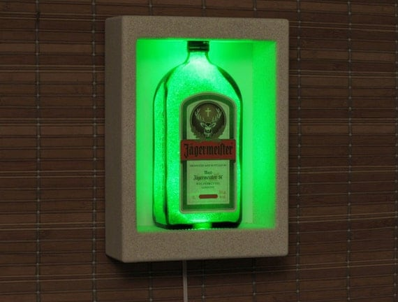 Items similar to Jagermeister Wall Mount LED Sconce Liquor Bottle Lamp Accent Light Bar Man Cave ...