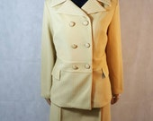 60s Vintage Yellow Crimplene Covered Button Mod Pencil Skirt Suit.
