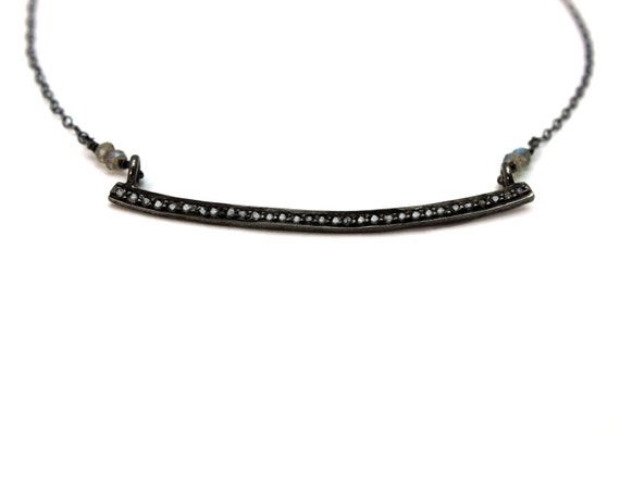 Pave Diamond Curved Bar Necklace with Black oxidized sterling silver NS-1751
