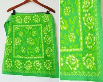 SALE Vintage 1960's Green Cotton Scarf- Green floral bandanna  scarf- Ladies vintage square scarf