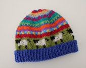 """Blue """"Sheep""""  Beanie - Size 6-12 months - Hand knitted"""