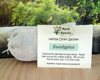 Eucalyptus Herbal Dryer Sachet | Dryer Sheet Alternative | Eco Friendly | Chemical Free