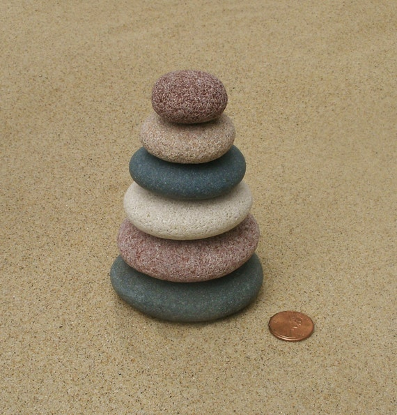 Lake michigan leelanau stacked beach stone cairn sculpture