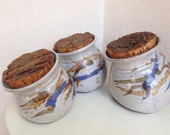 Vintage Unique Canister set 3 round pottery stoneware raw cork lid blues