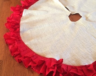 """51"""" Double Ruffle Burlap Christmas Tree Skirt-Off White Burlap & Red Cotton Ruffles-Country/Folk/Rustic-Other Colors Available"""