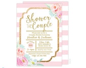 Blush and Gold Couples Shower Invitation - Wedding Shower Invitation - Bridal Shower Invitation - Gold Glittter - pink and gold - Printable