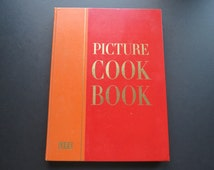 "Mid Century ""Picture Cook Book"" // Large Oversized Red Hardcover Vintage Cookbook 1958 Life Coffee Table Kitchen Decor Book Recipes Drinks"