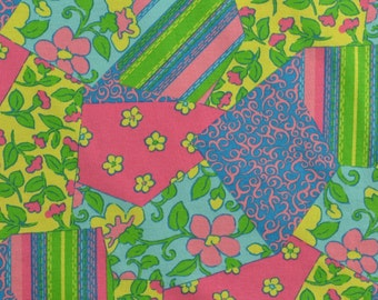 Cotton Jersey Knit Fabric, Cotton Knit, Floral Knit, Patchwork Fabric, Bright Colors, Pink Blue Yellow Green - 1 1/8 Yard - CKF1522
