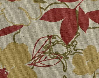 Cotton Linen Upholstery Fabric Remnant, Floral Upholstery, Cotton Upholstery, Upholstery Remnant, Floral Fabric - 7/8 YARD - UF1751
