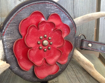 Lizard Print Round Leather Wristlet & Ruby Red Flower - Soft Leather Purse - One Of A Kind - Handmade - Gifts for Her
