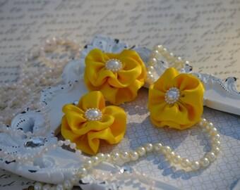 "Set of 3 Yellow Satin Flowers 1.5"",Satin Flower,  small fabric flowers, satin ribbon flower, headband, hair accessories, flower accessories"