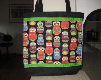 Colorful Owls Tote Bag, Black & Lime Green Neon Laptop Bag, Reusable Grocery Bag, Ohio Tote