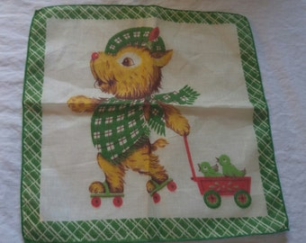 Scotty dog on Roller Skates Birds in Red Wagon Childrens Child Hanky Handkerchief 1950s Vintage new old Cotton Label  Green Plaid Border