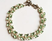Vintage BSK Glass & Enamel Necklace, Molded Glass Leaves Vintage Necklace