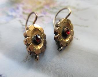 Victorian 10K Garnet Earrings, Antique Pierced Earrings, Antique Garnet jewelry, Estate Jewelry, Victorian Jewelry, Gold Pierced Earrings