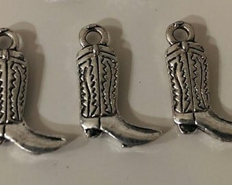 "CLEARANCE 24 Antique Silver Cowboy Boot Charm 3/4"" x 1/2"" Double Sided Western Wear Rodeo"