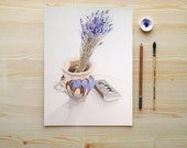 Lavender watercolor kitchen art print - botanical home decor - rustic mug bouquet