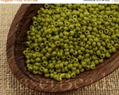 ON SALE 20% OFF Czech Seed Beads size 11/0 (20g) Opaque Olive Green Preciosa Ornela Rocailles Nr 286