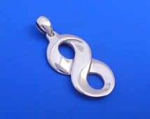 Silver Infinity Mobius Pendant , Hand Made Solid Silver