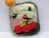 "Felted  brooch ""Christmas vacation on country side"", handmade felted jewelry, gift ideas"