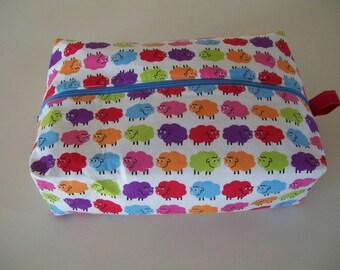 Large knitting box bag- colourful sheep.  Blue Zipper