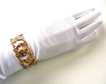 Gorgeous Statement Bracelet Etruscan Style Collectible Vintage Etrusceana Rice Weiner Designer Jewelry Mid Century Gold Plated Gift for Her