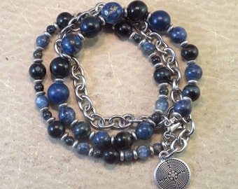 Third Eye Necklace / Wrap Bracelet  - Reiki Infused - Intuition Meditation Zen