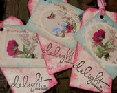 TAGS DELIGHT in the little things - set/3 - large, double, handstamped with ties
