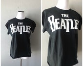 Beatles Black White Tee Diy Cut Off 60s Band Shirt Womens Size L Large Cotton Hippie Boho T Shirt Capped Sleeves Worn In Distressed Tshirt