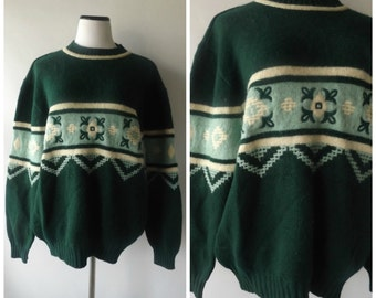 90s United Colors of Benetton Sweater Vintage Green Floral Pullover Jumper Mens Womens Size XL Extar Large Shetland Wool 1990s Hipster Boho