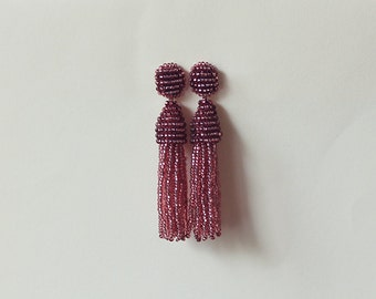 Beaded Tassel Earrings Dark Berry Shine (made to order)