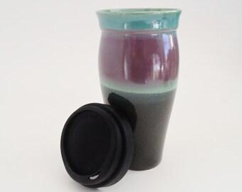 IN STOCK, Travel Mug with Silicone Lid and Sleeve, Large Lidded To Go Mug, 24 oz Black Green Burgundy Stoneware Mug
