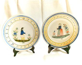 Pair of French Antique HB Quimper Pottery Petit Breton / Petite Bretonne Plates (C033)