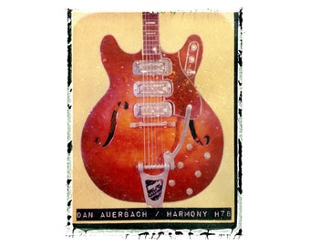 Dan Auerbach Black Keys guitar art print / music gift / rock n roll art / music room decor / guitar gift / man cave art