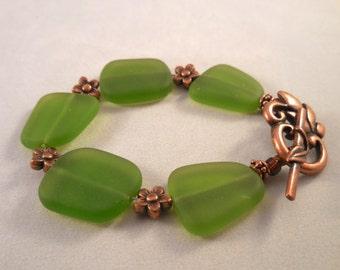 Forest Green Sea Glass Copper Bracelet